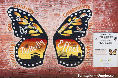 A large butterfly mural in Papillion.