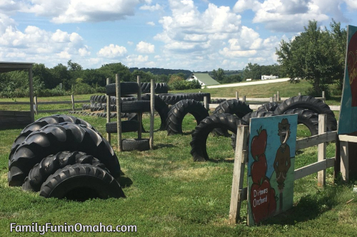 A tire obstacle course at Ditmars Orchard