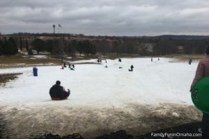 People sledding at Mahoney State Park